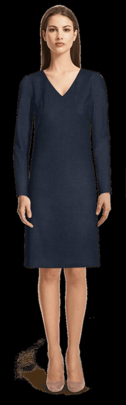 Robe droite bleu marine à manches longues