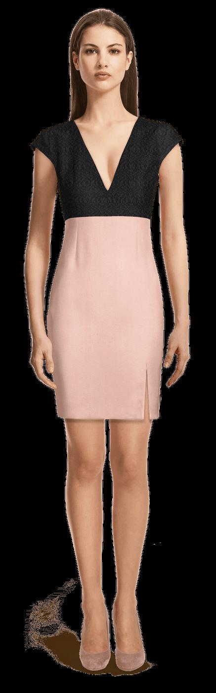 new concept 04abe 2acf1 Vestito corto tubino a vita alta nero e rosa