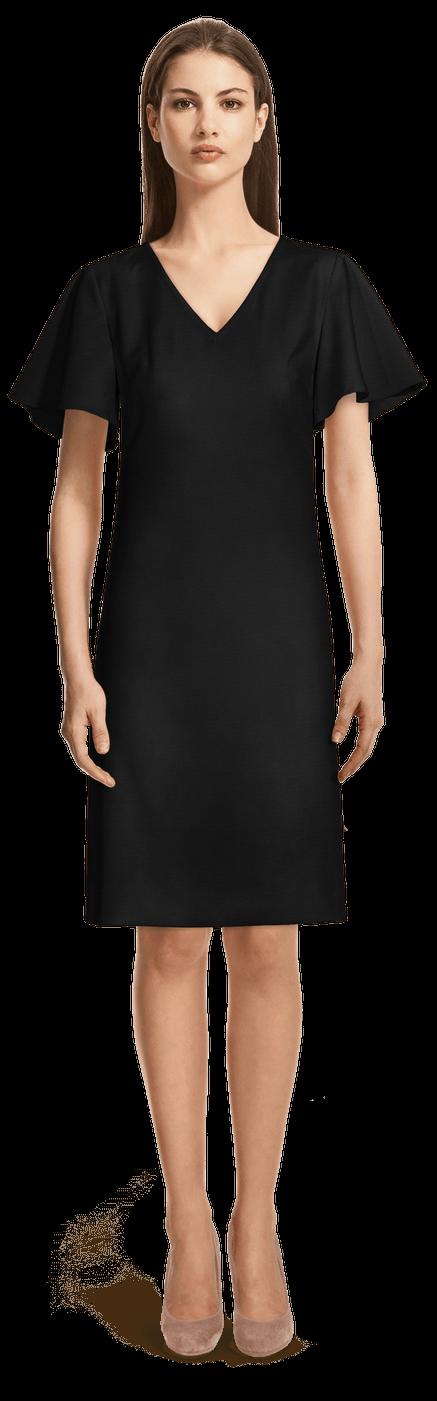 Robe Droite Noire Manches Cloches 79 Sumissura