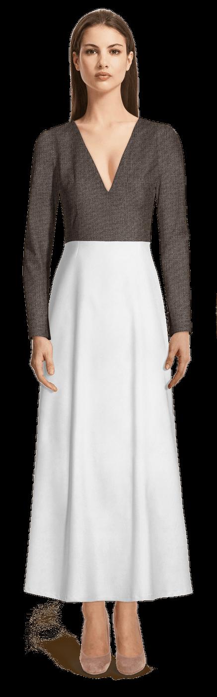 big sale 6e31b 7e78d Graues und Weißes langes Kleid mit tiefem V-Ausschnitt