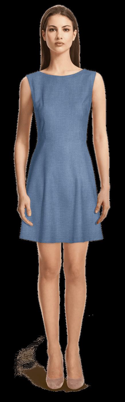 Robe Patineuse Bleu Sans Manches 109 Sumissura
