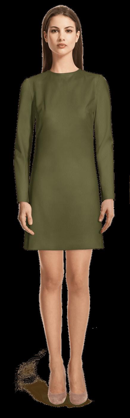 Vestido Corto Recto Verde Militar Cuello Crew Manga Larga