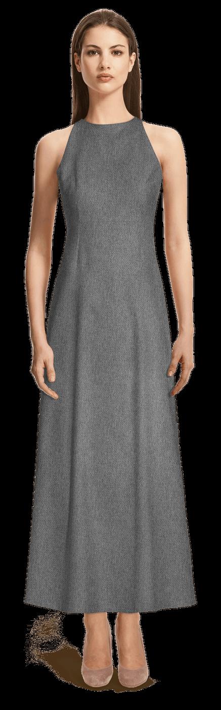 cheap for discount 30190 933a4 Graues langes Kleid mit Neckholder