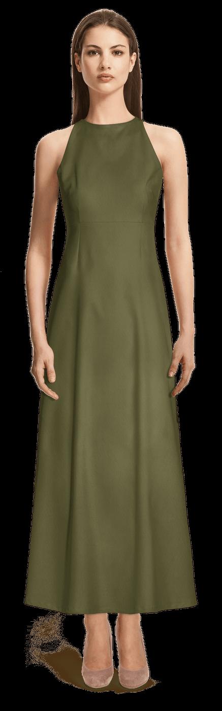 watch bc253 e7a27 Militärgrünes langes Kleid mit Neckholder