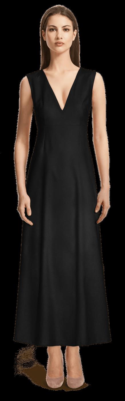 Schwarzes Armelloses Langes Kleid Mit Tiefem V Ausschnitt 99 Sumissura