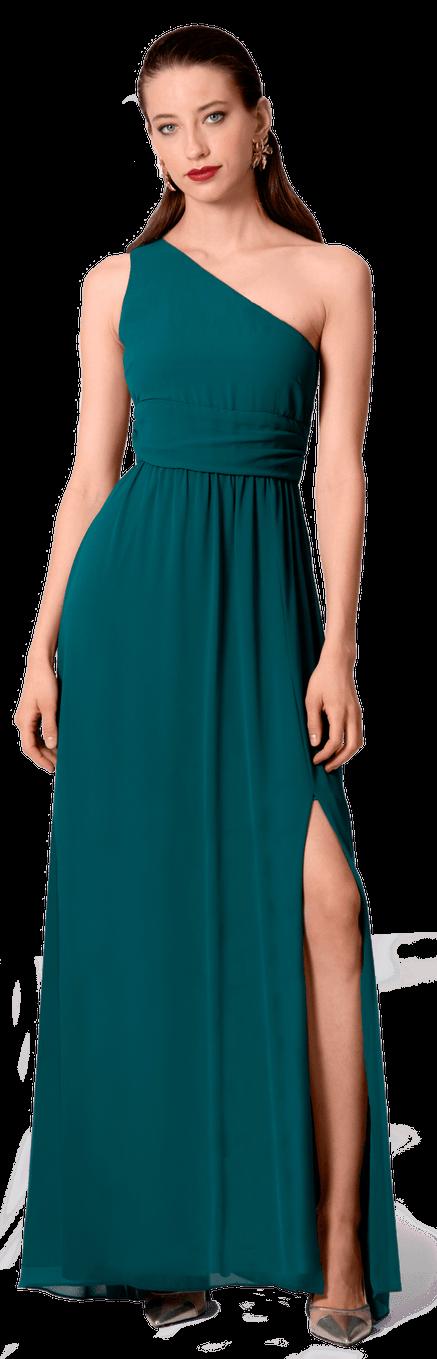 Vestido Largo Imperio Verde Asimétrico
