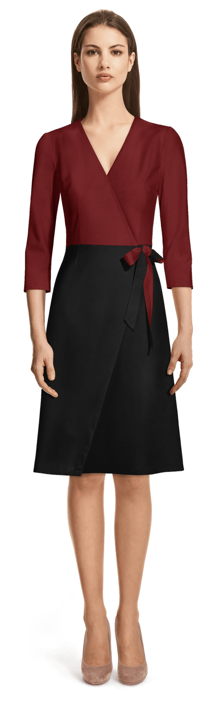 Robe Portefeuille Rouge Et Noire Manches 3 4 109 Sumissura