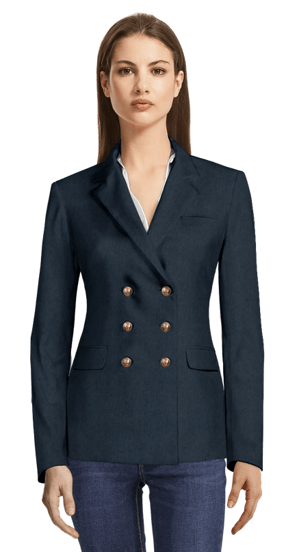 6413bbf85183 Blue double breasted Blazer with Brass Buttons chf197 - Livie ...