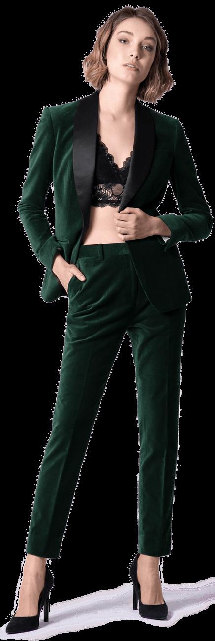 Veste de smoking courte verte en velours 1 bouton avec