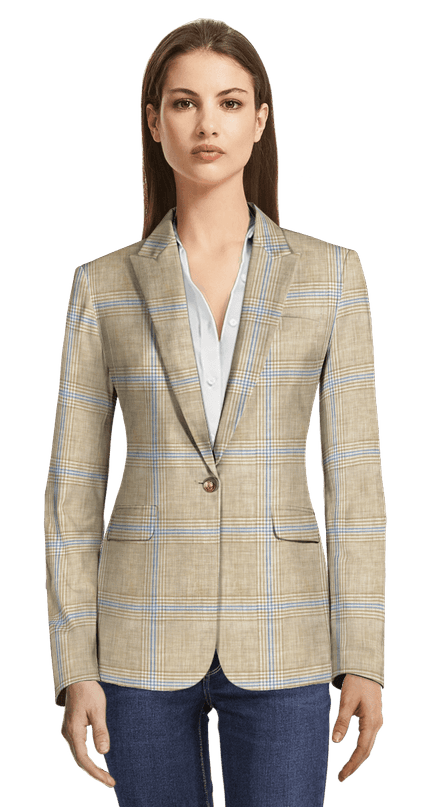 66915ceb90f54 Beige Prince of Wales linen Blazer with brass button chf257 - Tiwood ...