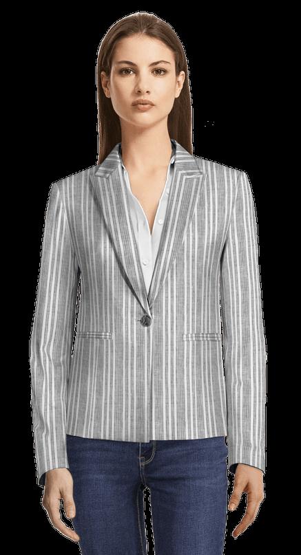 sección especial comprar popular varios estilos Americana gris a rayas de lino con solapa de pico