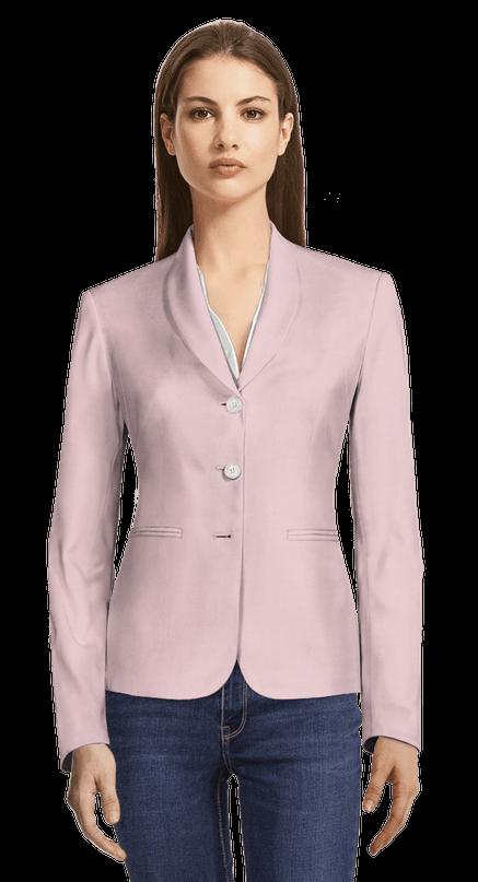 hot sale online 213a6 4d86c Blazer rosa di lino-cotone con risvolti a scialle