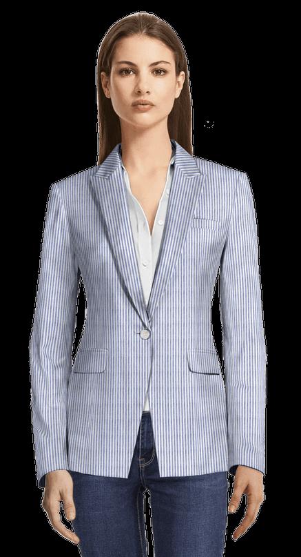 Light Blue Striped Seersucker One Button Blazer With Peak Lapels