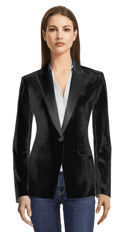 c96be905232 Black velvet Tuxedo Jacket with peak lapels