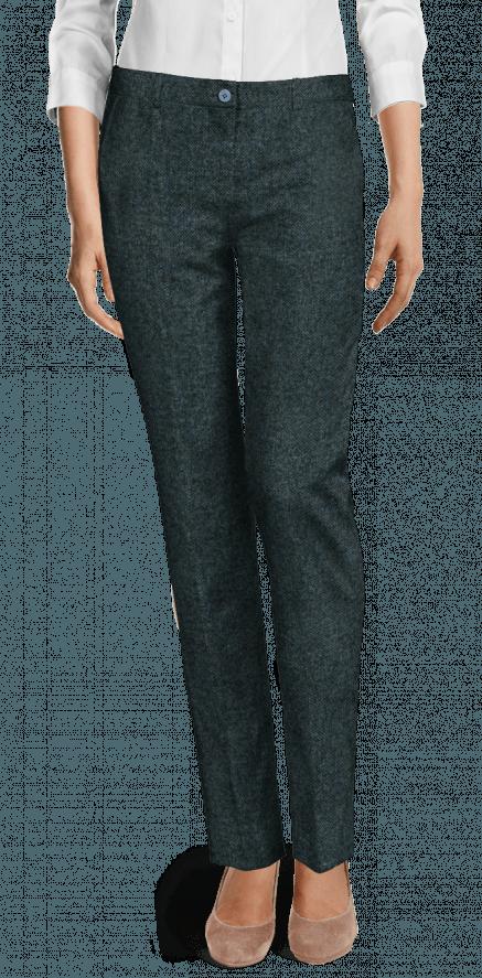 Fronttaschen Blaue Mit Trousers Tweed Flachen BWdeQCErxo