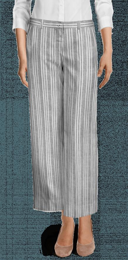 98a1634465 Grey striped linen wide leg Pants $109 - Keller | Sumissura