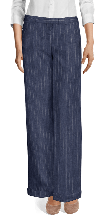 f19f14e9af Blue striped linen wide leg Pants 149€ - Weston | Sumissura