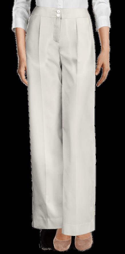 Pantalon Ancho Blanco Talle Alto De Mezcla Lana Con Pinzas 69 Sumissura