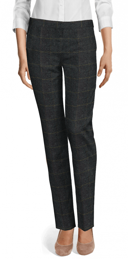 special buy many styles 60% cheap Blue Plaid Tweed flat-front Slacks