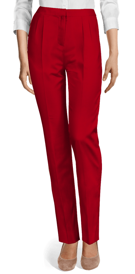 Unique Red Pleated Pants