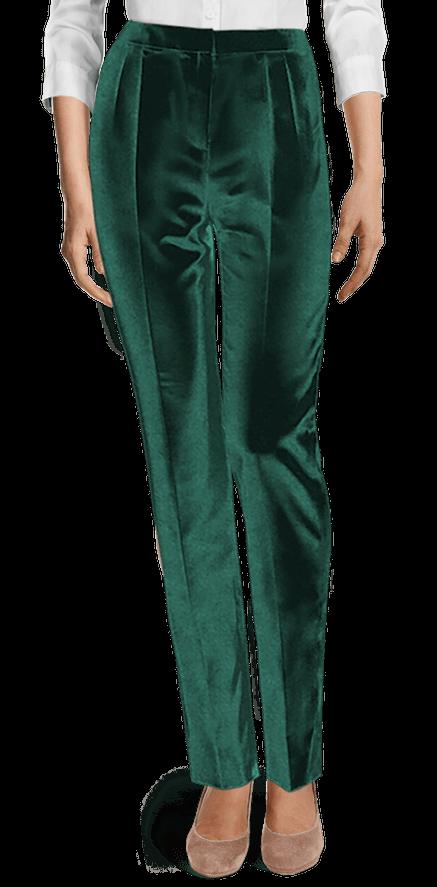 Pantalon taille haute en velour vert tendre | Pantalon