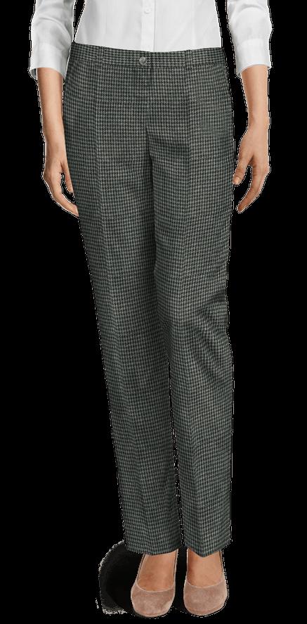 Pantalón De Vestir Gris Oscuro De Tweed Pata De Gallo