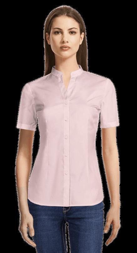 Camisa De Vestir Rosa Claro De Manga Corta Mezcla De Algodón Con Cuello Mao