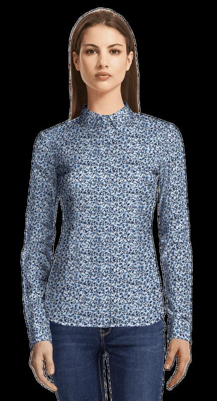 release date: 33396 9bba7 Blaues blumenmuster Hemd aus Baumwolle