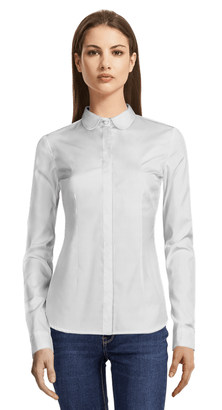 Chemise blanche en coton col claudine CHF6