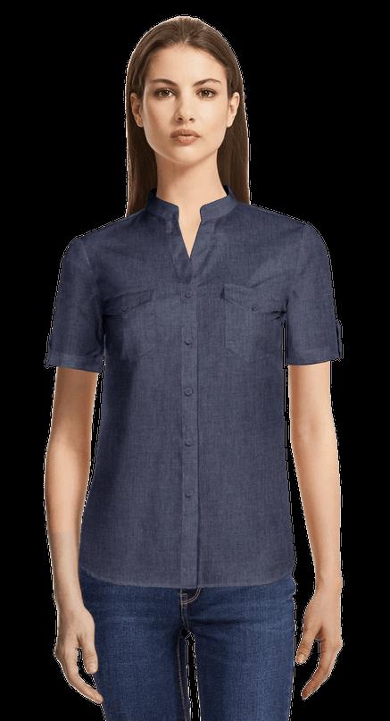 Camisa de vestir azul marino de manga corta de verano con cuello mao con bolsillos