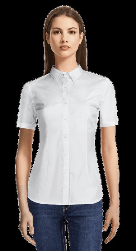 Camisa De Vestir Blanca De Manga Corta