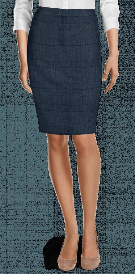 7a7661b26 Falda de tubo de Lino a cuadros azul