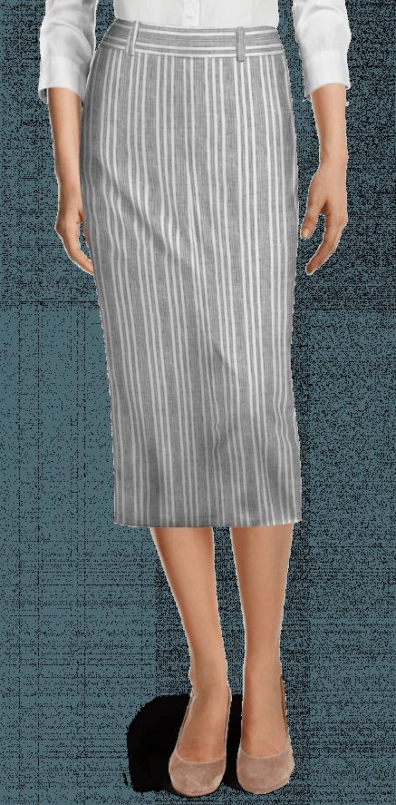 3602bdf30 Falda de tubo de Lino a rayas con corte trasero Midi gris