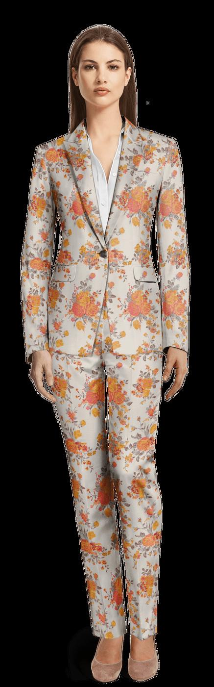 Oranger Damen Anzug aus Jacquard mit steigendem Revers