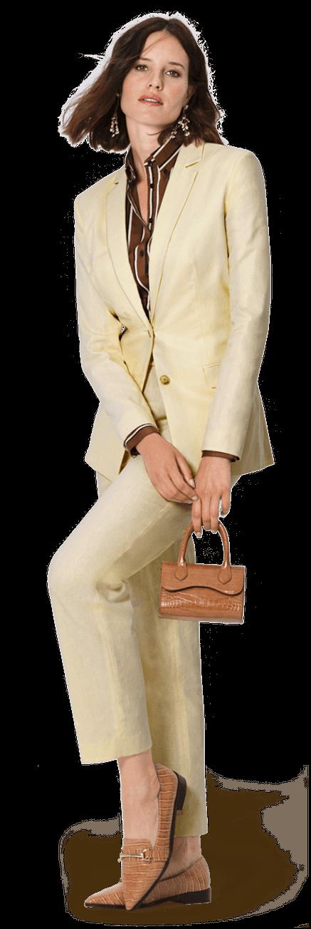 Gelber Damen Anzug aus Baumwolle Leinen mit steigendem Revers