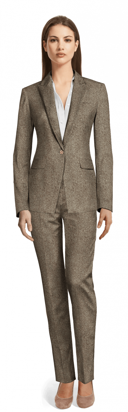online shop up-to-datestyling official shop Light Brown Tweed Pant Suit with peak lapels