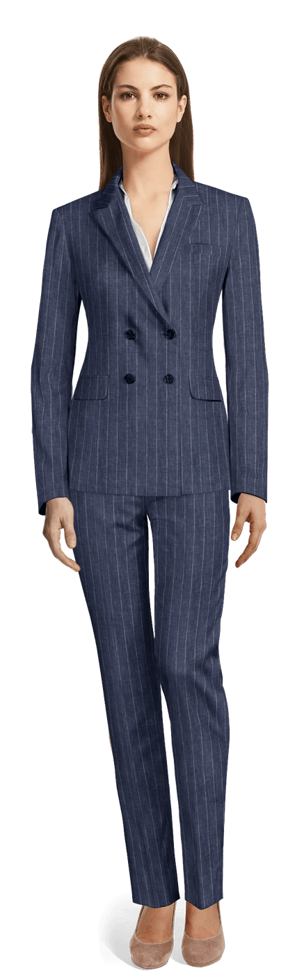 0384a4794b Blue Double breasted striped linen Pant Suit $349 - Weston | Sumissura