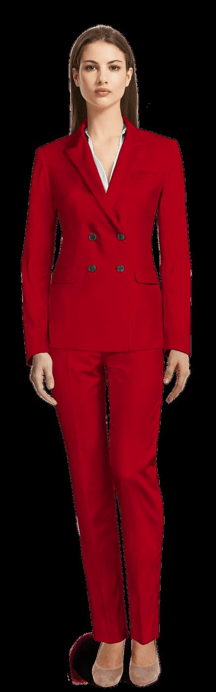 Tailleur femme Rouge croisé en laine CHF3