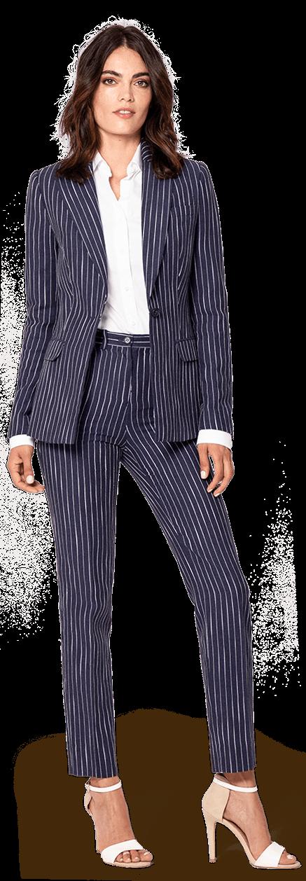 9be2806983 Tailleur Pantalone blu gessato