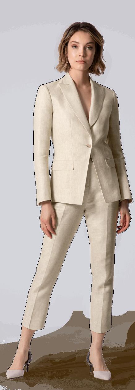 Tailleur pantalon cigarette Sable en lin