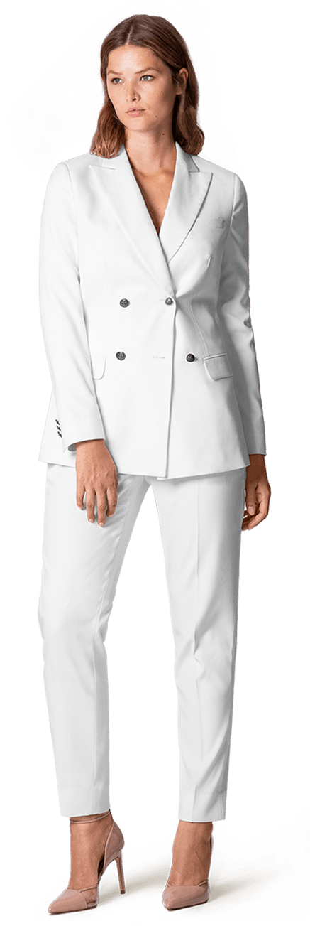 Plus Size White Double breasted LinenSuit