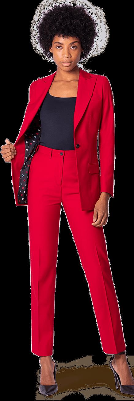 Tailleur femme Rouge en laine avec revers