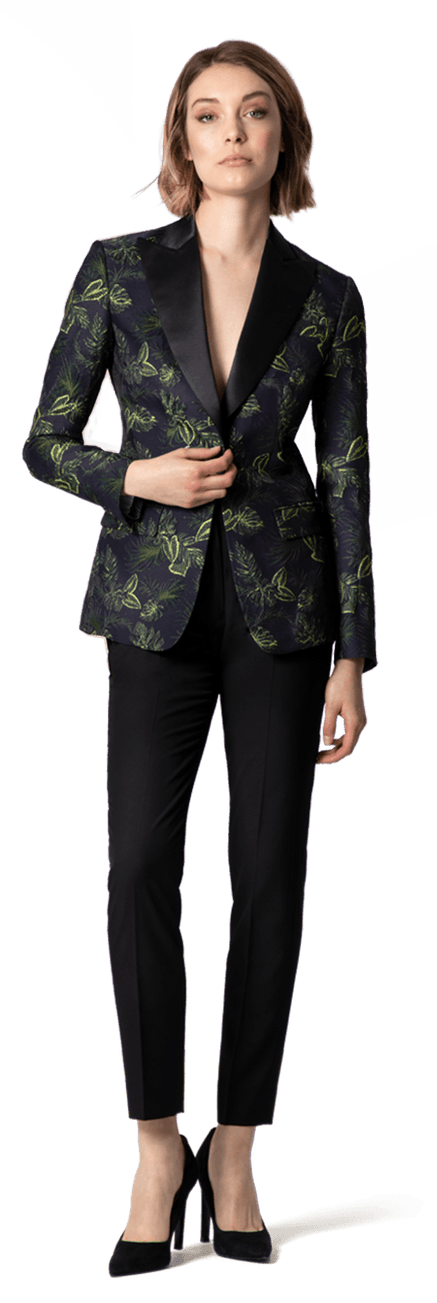 aa95dd27972e NEW Floral Jacquard Tuxedo with peak wide lapels