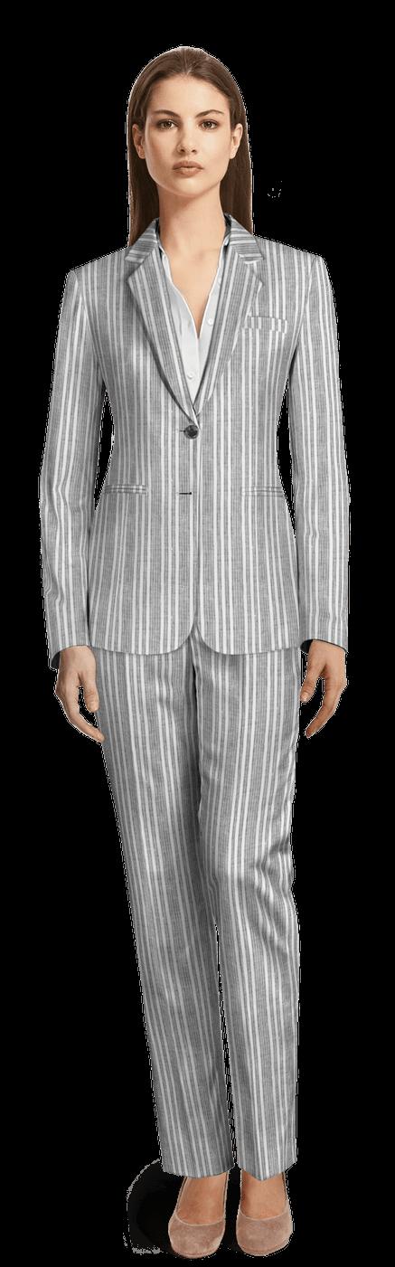 Tailleur pantalon femme gris clair à rayures