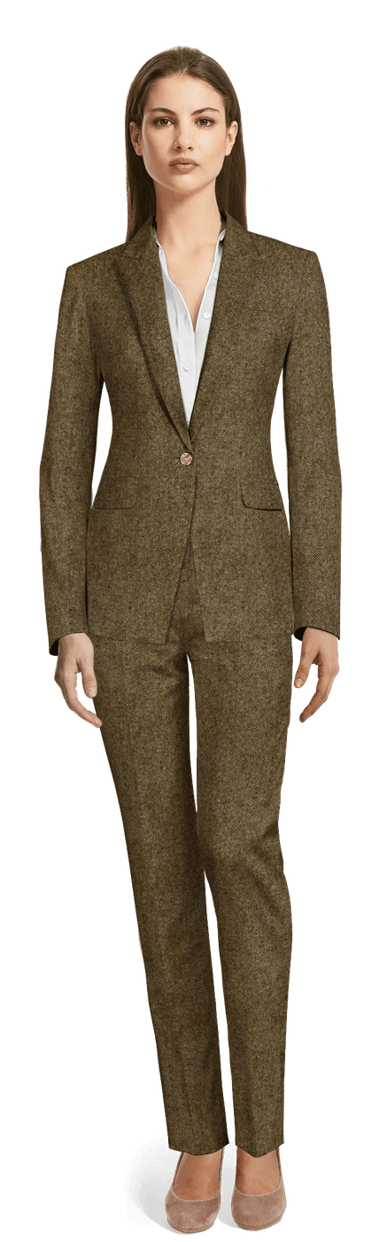 Ensemble pantalon Marron Tweed avec revers