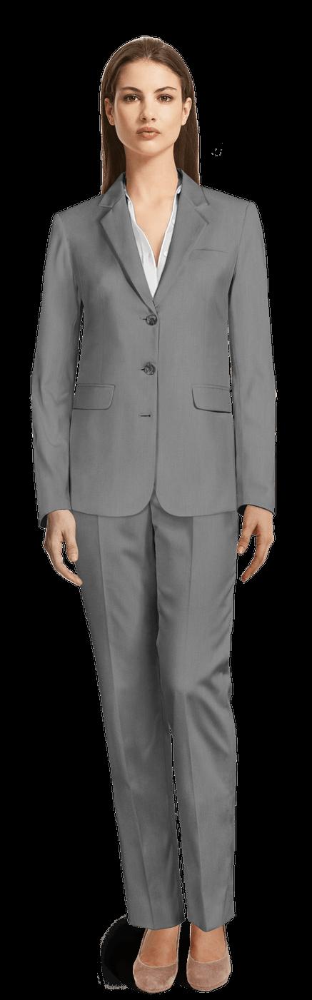 Tailleur pantalon femme Gris Clair en laine