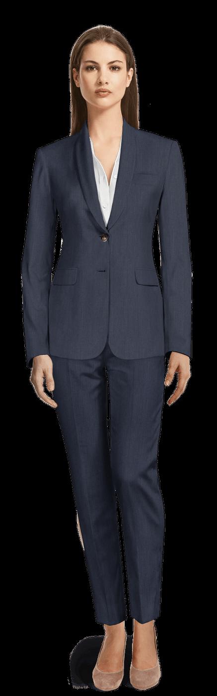 Tailleur pantalon 7/8ème Bleu Marine en lin