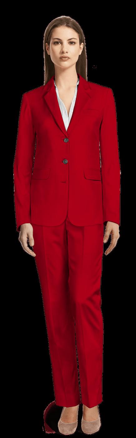 Tailleur pantalon Rouge en laine - relaxed