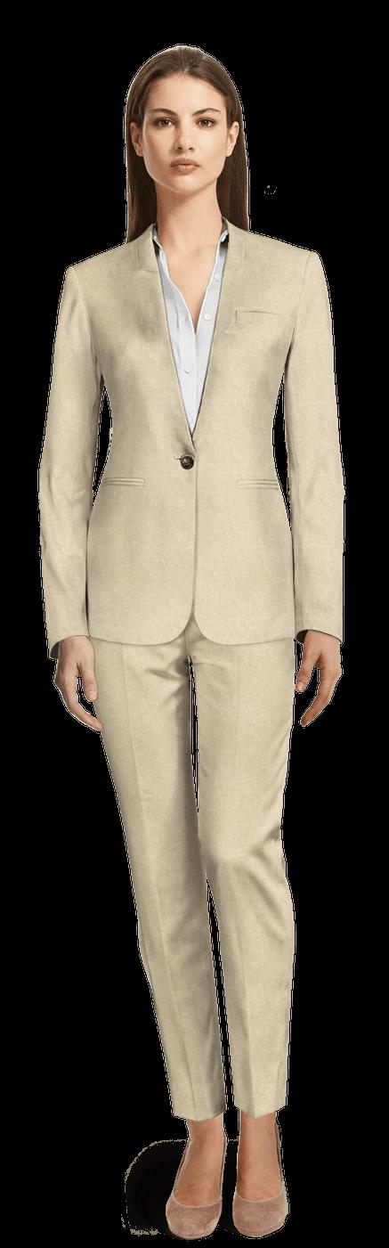 günstig eine große Auswahl an Modellen bezahlbarer Preis Sand kragenloser Leinen Damen Anzug ohne Revers