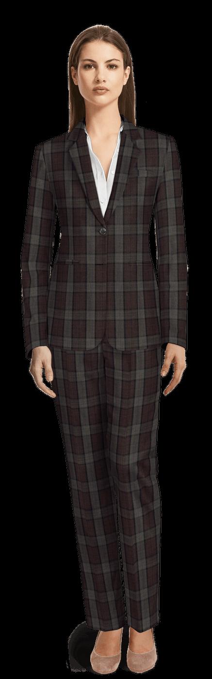 Tailleur pantalon femme Bordeaux à carreaux